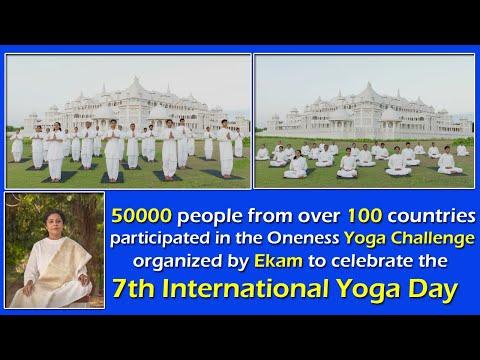 SRI PREETHAJI & SRI KRISHNAJI – 50000 people from over 100 countries participated Challenge celebrate the 7th International Yoga Day